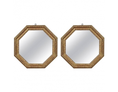Pair of Carved Giltwood Octagonal Mirrors