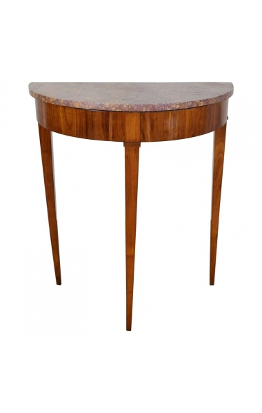 Tall Cherrywood and Marble-Top Demilune Console Table