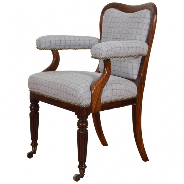 Mahogany and Upholstered Armchair