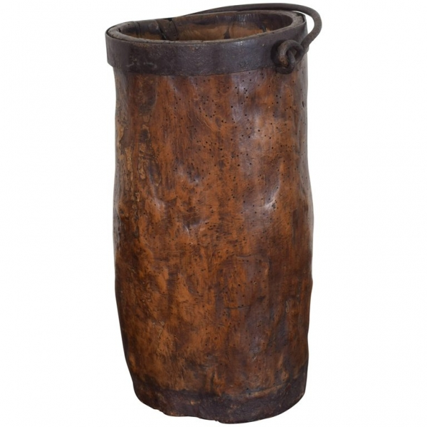 Carved Wood and Iron Bound Handled Bucket