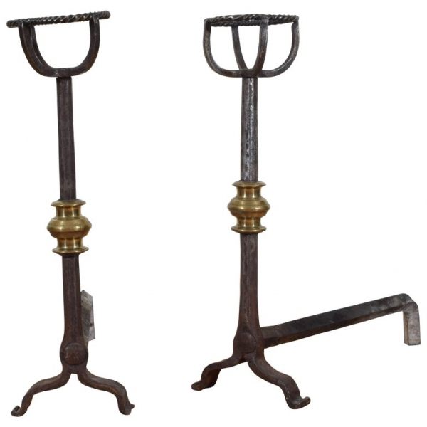 Wrought Iron and Brass Andirons