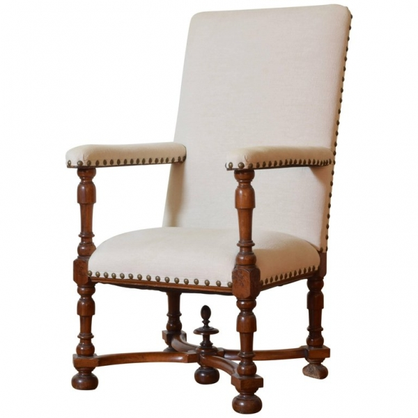 Large Carved Walnut and Upholstered Fauteuil