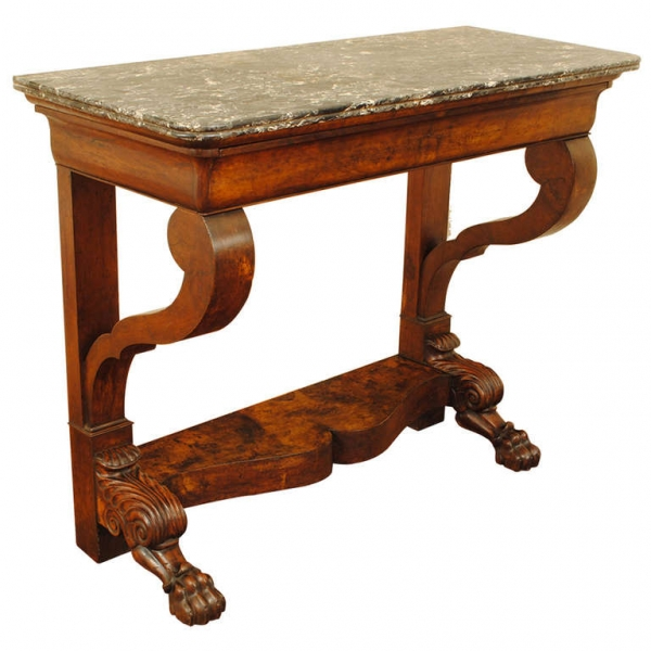 Carved Walnut 1-Drawer Console Table with Marble Top