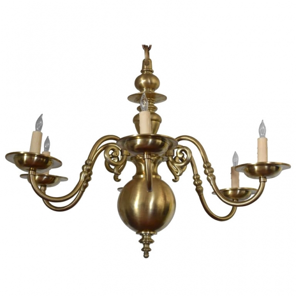 Brass 6-Light Chandelier