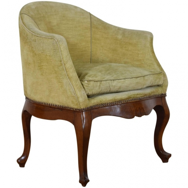 Carved Walnut and Upholstered Bergere