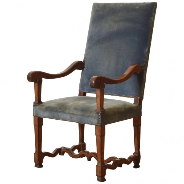 Carved Walnut Fauteuil