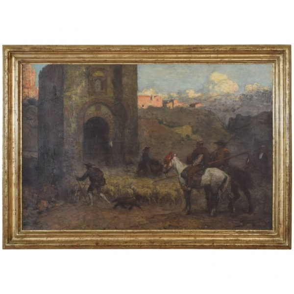 Oil on Canvas in Giltwood Frame, Spanish Herders, Gate of Valencia