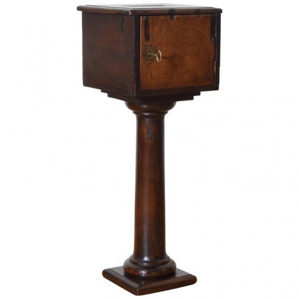 Walnut Locking Alms Box
