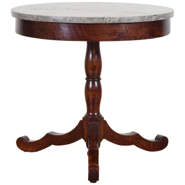 Mahogany and Marble-Top Center Table