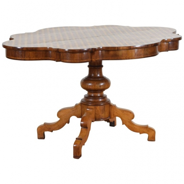 Walnut and Marble Parquetry Veneered Table