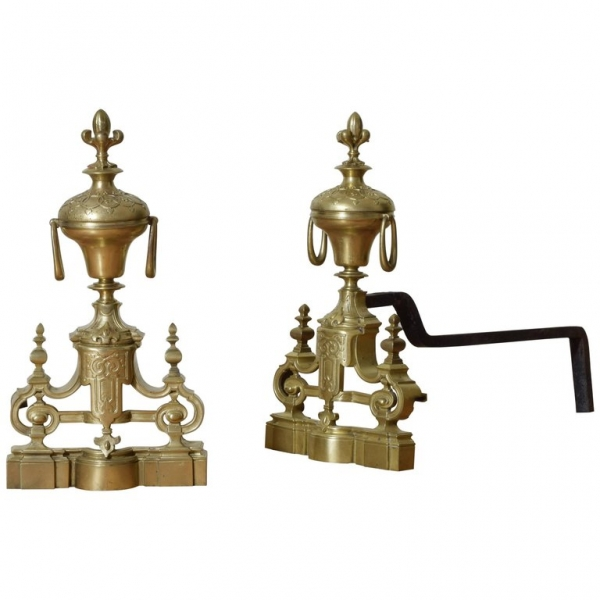 Pair of Cast Brass Andirons