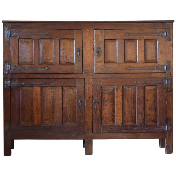 Oak Iron Mounted 4-Door Cabinet