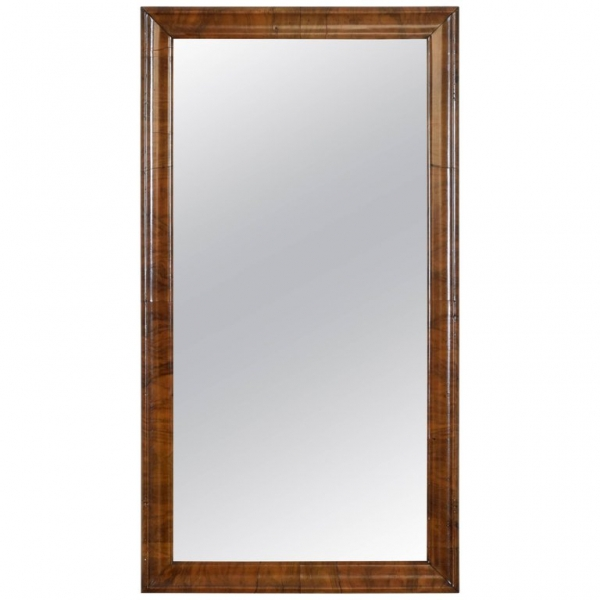 Solid Shaped Walnut Wall Mirror