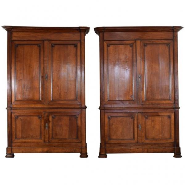 Pair of Light Oak 4-Door Cabinets