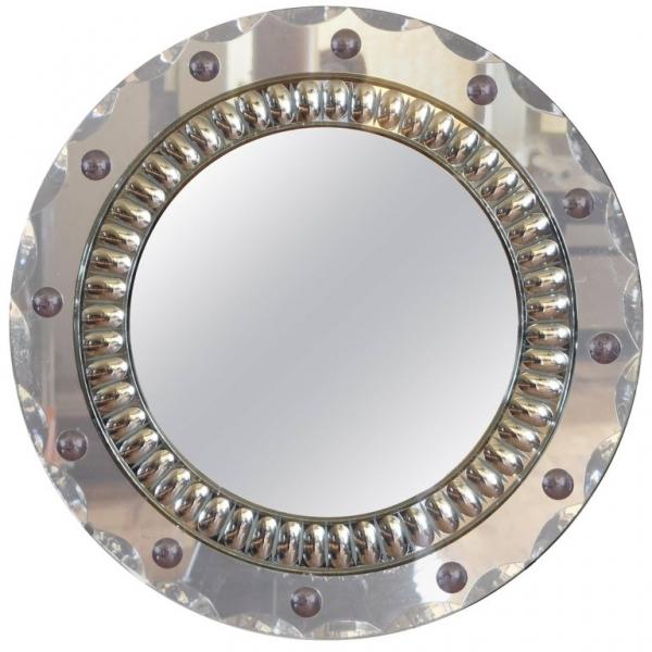 Reverse Etched Glass Round Mirror