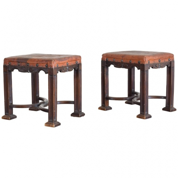 Pair of Walnut and Leather Upholstered Benches