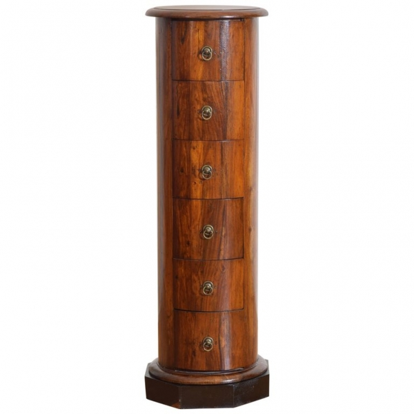 Walnut and Ebonized 6-Drawer Column-Form Pedestal