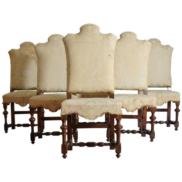 Set of 6 Turned Walnut and Upholstered Dining Chairs