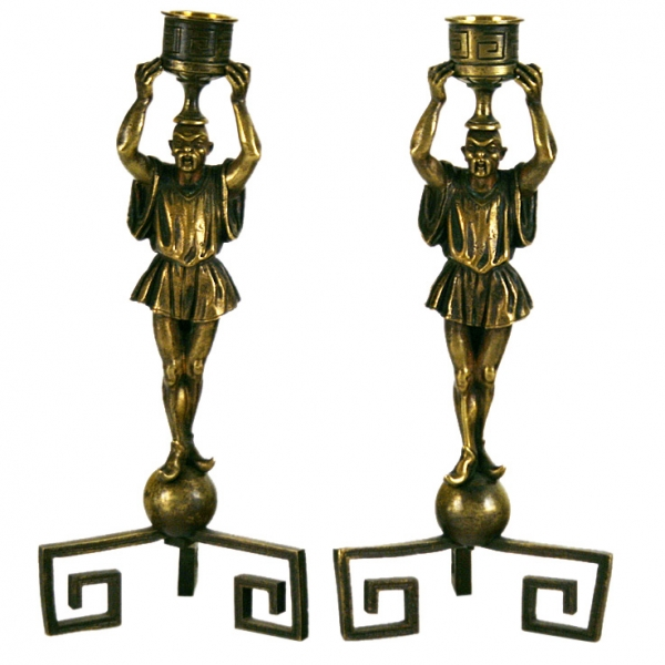 Whimsical Pair of Patinated Bronze Figural Candlesticks