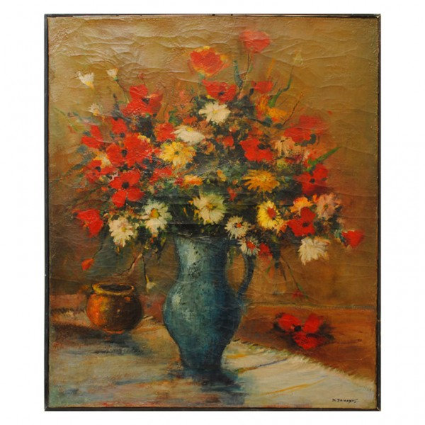 Oil on Canvas, Floral Still Life, signed M. Jamart