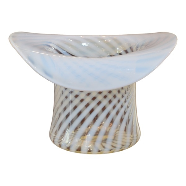 Opalescent Spiral Glass Vase in the Form of a Top Hat