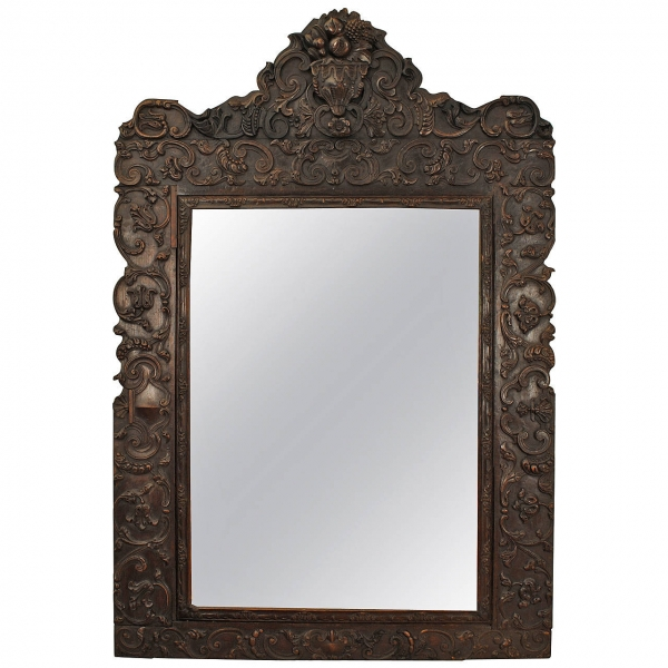 Sizable Carved Walnut Mirror