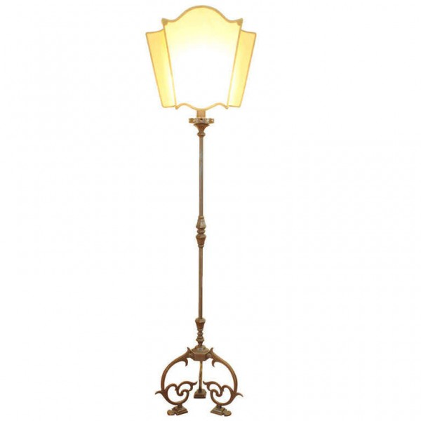 Brass Floor Lamp with Custom Parchment Shade