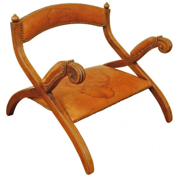"Low Mahogany and Leather Upholstered ""Saddle Chair"""
