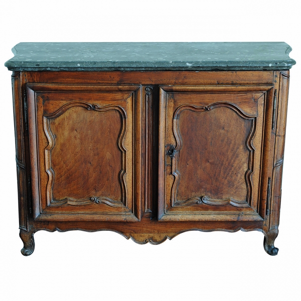 Rare Carved Walnut Buffet, Marrone Fossilized Marble Top