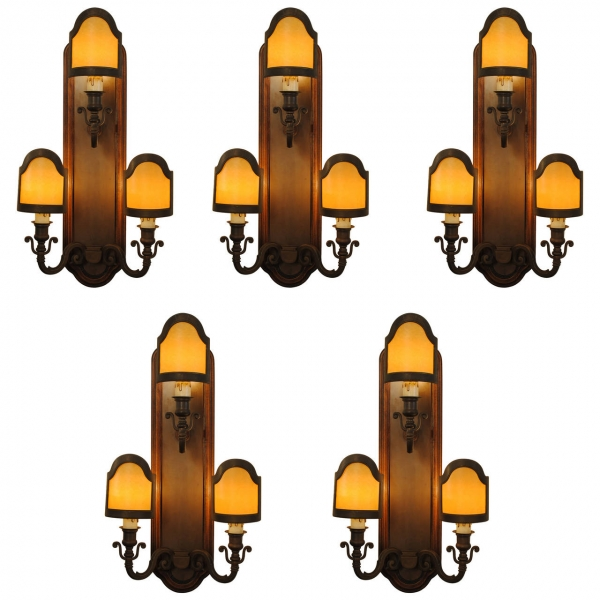 Set of 5 3-Light Wall Sconces in Patinated Brass