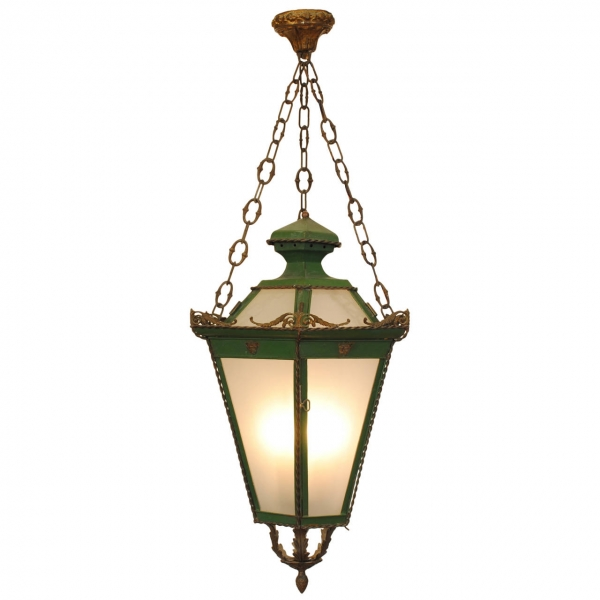 Green Painted Tole 3-Light Hanging Lantern