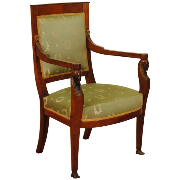 Carved, Gilded and Ebonized Walnut and Upholstered Fauteuil
