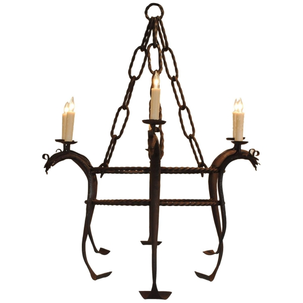 Wrought Iron 6-Light Chandelier