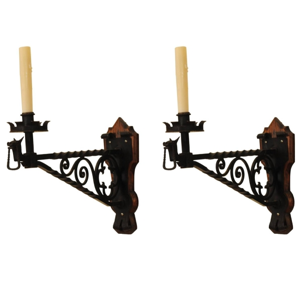 Pair of Wrought Iron Sconces on Wooden Backplate