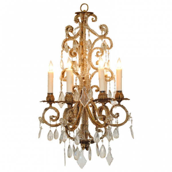 Gilt Iron and Glass 6-Light Chandelier