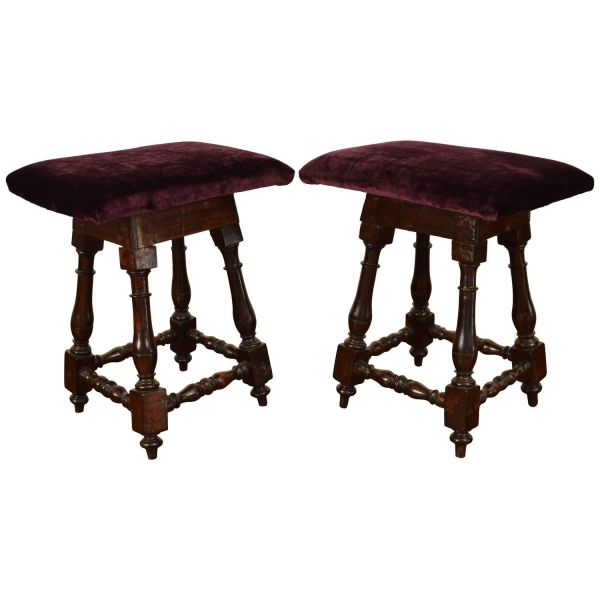 Pair of Dark Walnut and Upholstered Footstools