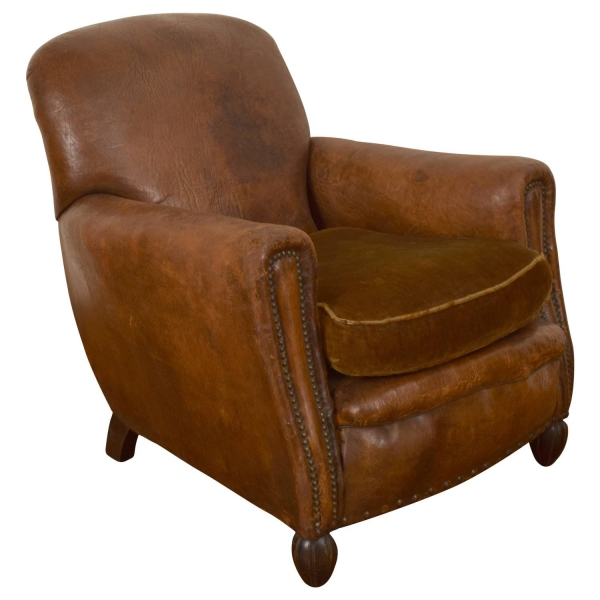 Leather Bergere with Shaped Feet