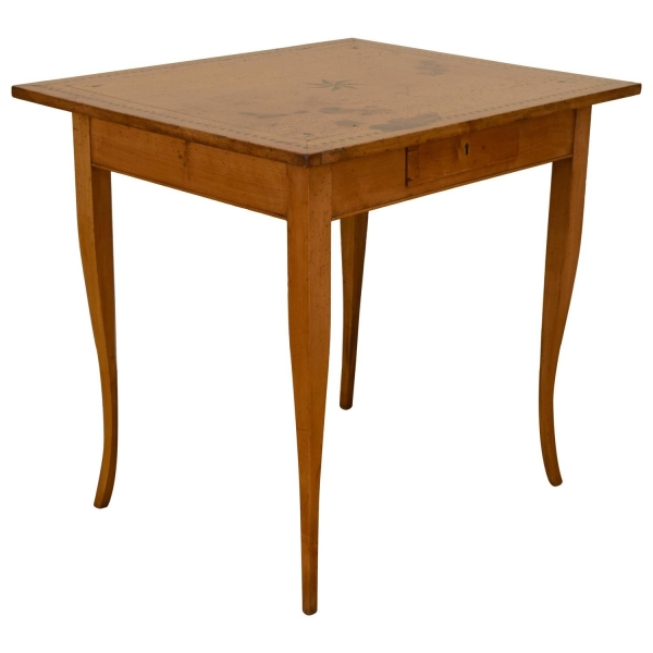 Fruitwood and Inlaid 1-Drawer Center Table