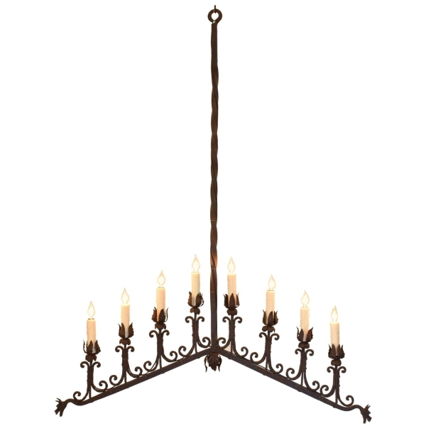 Wrought Iron Chevron Shaped Linear 8-Light Chandelier