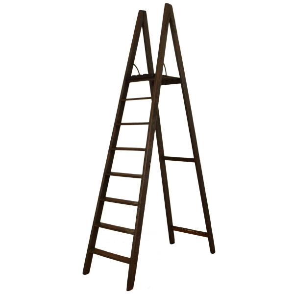 Painted Pinewood Tall Ladder with Tray Shelf