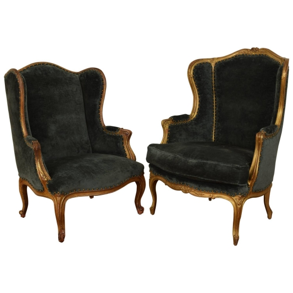 Matched Pair of Carved Giltwood Bergeres