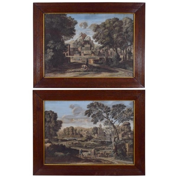 Pair of French Hand Colored Engravings