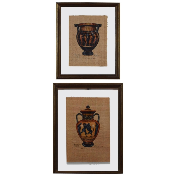 Two Paintings on Paper of Greek Vessels