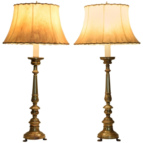 Brass Candlesticks as Table Lamps