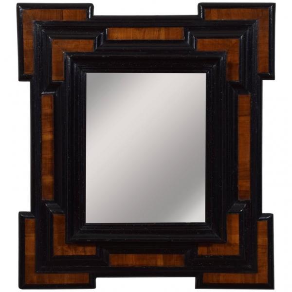 Walnut and Ebonized Wall Mirror