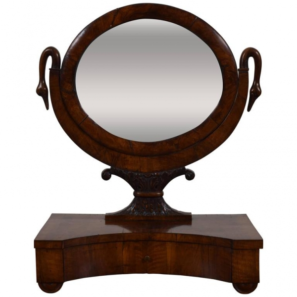 Walnut Decorative 1-Drawer Dressing Mirror