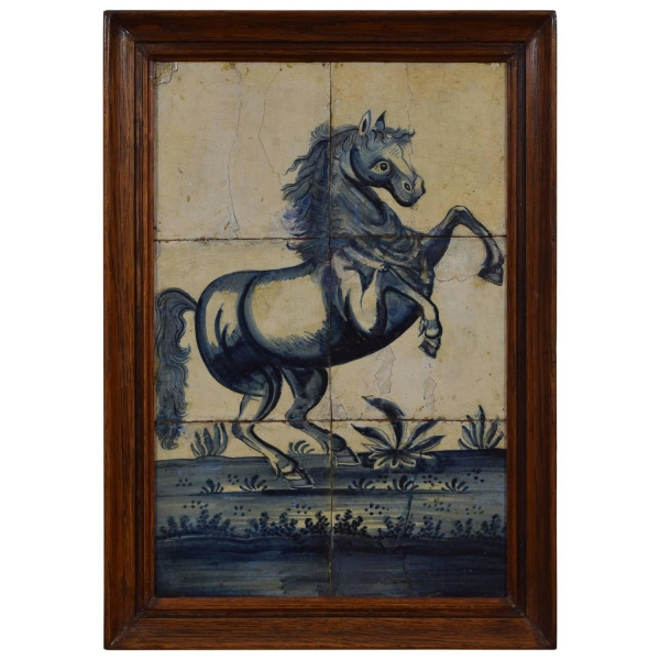 Framed Painted Tiles of a Rearing Horse