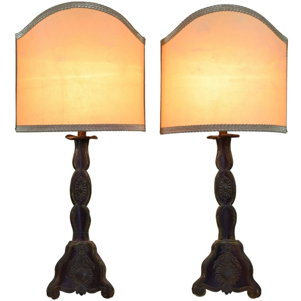 Pair of Painted Tole Candlesticks Mounted as Table Lamps