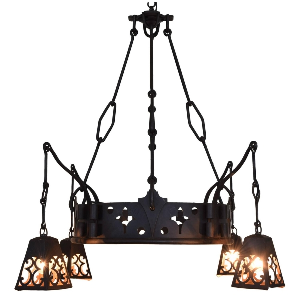 Signed Wrought & Cast Iron Chandelier with Hanging Lanterns