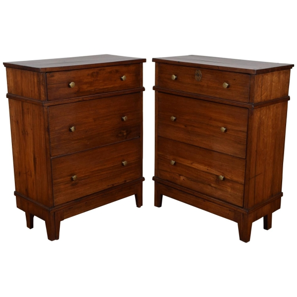 Pair of Fruitwood 3-Drawer Commodini